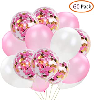 60Pcs Rose Gold and Gold Confetti Balloon Set 12Inch Pink Latex Party Balloons White Balloon for Wedding Birthday Graduation Celebration Valentine's Day Girls Party Decoration