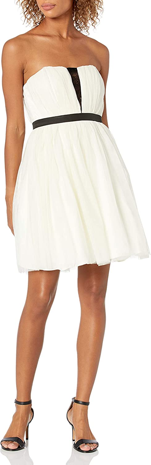 Minuet Women's Tulle Short Dress with Contrast Lace at Neckline