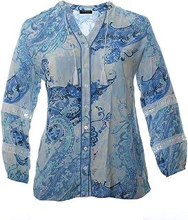 Amcool Damen Blusen Elegante Oberteile V-Ausschnitt Tops Casual Blumenmuster Drucken Lose Langarmshirt Vintage Tunika Hemd Langarm Shirt