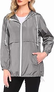 Unibelle Chubasquero para mujer, chaqueta de entretiempo, chaqueta funcional con capucha, chaqueta softshell, cortavientos...