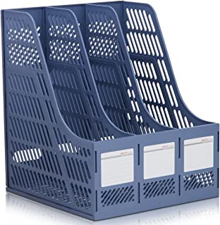 AWTChoice DELI 9847 Desk Organizer Triplicate Magazine Rack Literature Plastic Holder School Office Desktop File Holder - ...