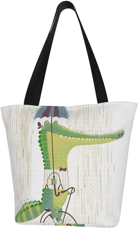 Funny Crocodile Bicycle Rain Animal Themed Printed Women Canvas Handbag Zipper Shoulder Bag Work Booksbag Tote Purse Leisure Hobo Bag For Shopping