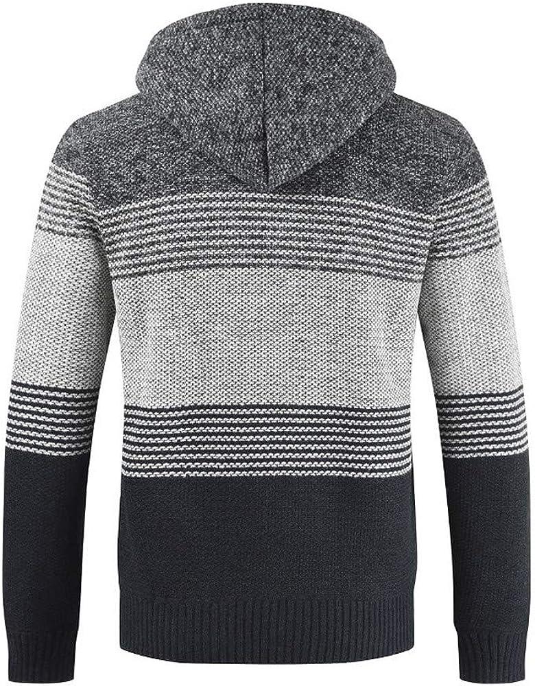 Men's Winter Cardigan Sweater Striped Zipper Hoodie Slim Fit Outwear Tops Casual Long Sleeve Blouse Coats
