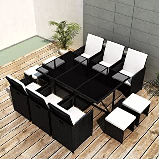 Tidyard 11 Piece Outdoor Garden Dining Set, Patio Dining Table Furniture Set, Comfortable Cushions, Steel Frame, Glass Tabletop, Poly Rattan, Space Saving