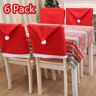 Adeeing Christmas Chair Back Covers, 6 Pack Santa Claus Hat Chair Cover Xams Chair Covers Caps Slipcovers Set for Christmas Festive Home Dinner Table Chairs Decoration Kitchen Party Decor