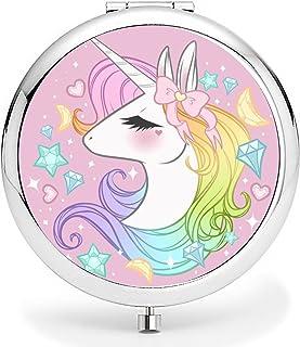 Compact Purse Mirror, Cute Unicorn Pattern Design ravel Mirror, Mini Makeup Mirror Romantic Gifts for Women and Girl(Unicorn5)