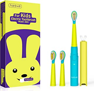 Fairywill Kids Sonic Electric Toothbrushes for Toddlers,Powered Rechargeable Toothbrush with 3 Replacement Heads & Smart Timer and 3 Modes,Easy Cleaning,Boy