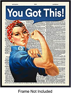 You Got This on Photo of Dictionary Page - Unframed Wall Art Print - Great Motivational or Inspirational Gift - Cool Home Decor - Ready to Frame Vintage (8x10) Photo - Rosie The Riveter
