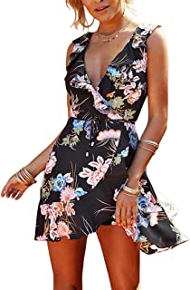 Mocure Women's One-Piece Floral Print Deep V Braces Skirt Casual Pleated Swing Dress Sleeveless Sling Sundress Beach Skirt