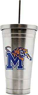 NCAA Memphis Tigers 17oz Double Wall Stainless Steel Thermo Tumbler with Straw