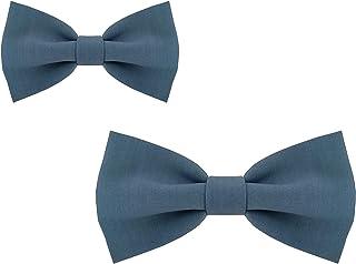 Papillon padre figlio papillon bambini azzurro cenere o rosa cipria annodato in cotone, linea cerimonia, 2 colori disponib...