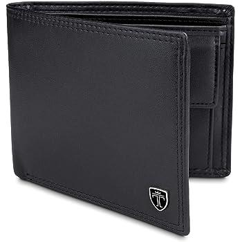 RFID blocking wallet pour homme deux volets zippée porte-monnaie et fenêtre d/'identifiant de 421 Noir