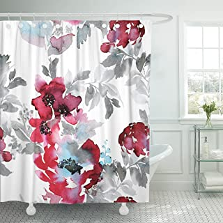 TOMPOP Shower Curtain Blue Large Burgundy Red Watercolor Abstract Flowers Gray Foliage Waterproof Polyester Fabric 72 x 72 Inches Set with Hooks