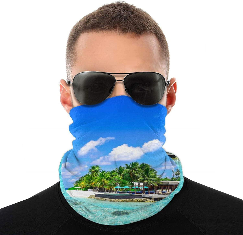 Neck Gaiter Hawaiian Seaside Island Face Mask Reusable, Cloth Face Masks Washable Bandana Face Mask, Sun Dust Protection Cover Balaclava Scarf Shield