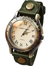 95fa34966631 【リトルマジック】アンティーク 風 腕時計 メンズ レディース イタリアンレザー 日本メーカー製クオーツ 本