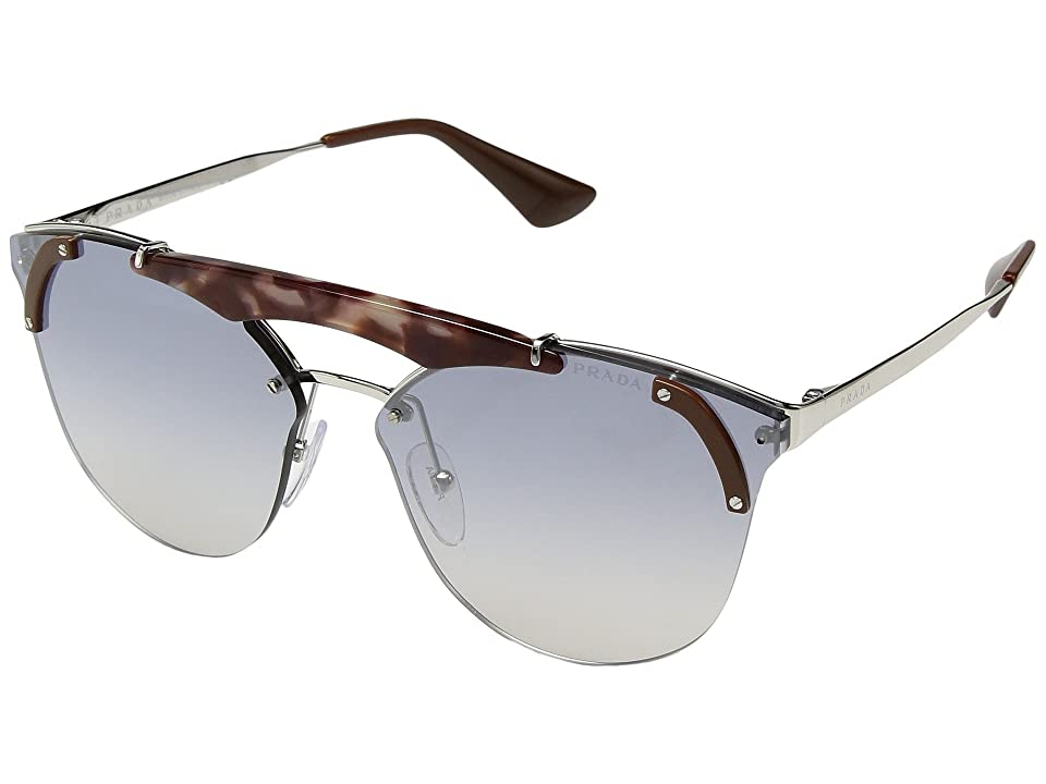 Prada 0PR 53US (Silver/Pink Havana/Brown/Gradient Blue Silver) Fashion Sunglasses