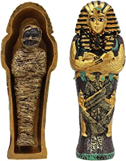 "Ebros Egyptian King Tutankhamun Pharaoh Sarcophagus Coffin With Mummy Figurine Set 4""Long Egyptian Pharaoh Tombstone Histo..."