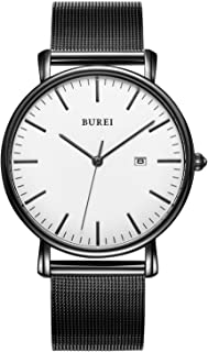 BUREI Men's Watch Quartz Wrist Minimalist Stainless Steel Mesh with Analog Dial
