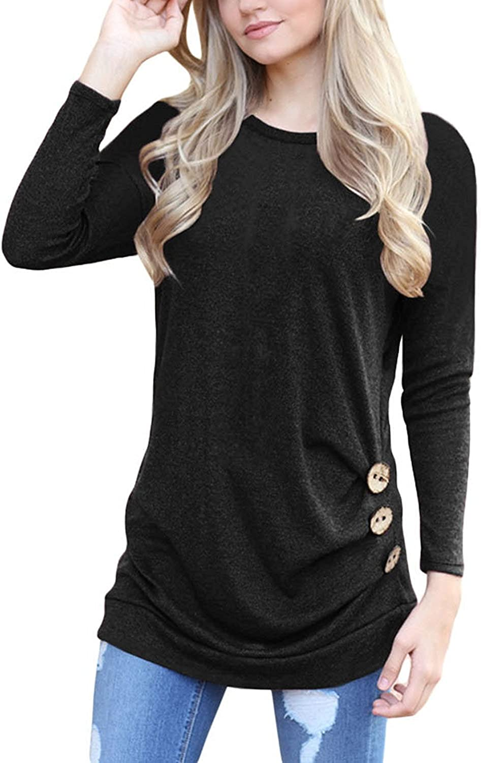 61fd8ea322 TrendiMax Women Long Casual Side Round Neck Loose Tunic Tops Blouse ...