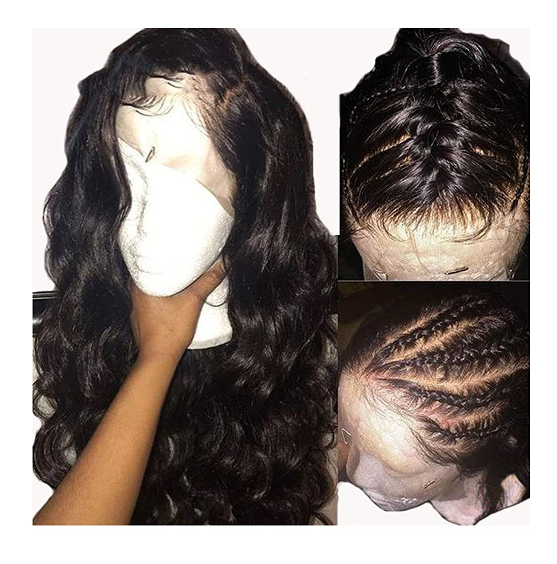 natural Body Wave Lace Front Human Hair Wigs For Black Women Natural/#1 Jet Black Color Peruvian Remy Lace Wig,#1,24inches