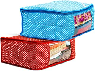 Amazon Brand - Solimo 2 Piece Cotton Mix Fabric Saree Cover Set with Transparent Window, Large, Blue and Red
