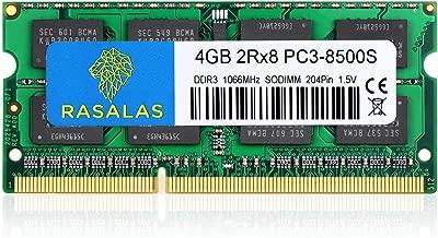 Rasalas 4GB DDR3 2RX8 PC3 DDR3 1066 MHz PC3-8500S DDR3 8500 Ram Notebook Ram Sodimm DDR3 Non-ECC Unbuffered Laptop Memory