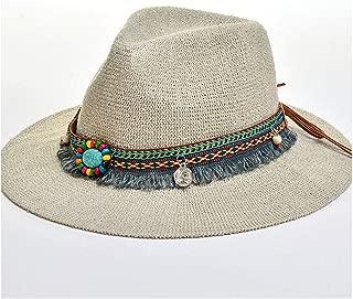 CHENDX High Quality Hat, Fashion Summer Bohemian Style Women Sun Hat Lady Wide Brim Jazz Hat Hat with Straw Vintage Hat Floppy Sun Beach Church Cap Colorful Tassel Beaded Decoration