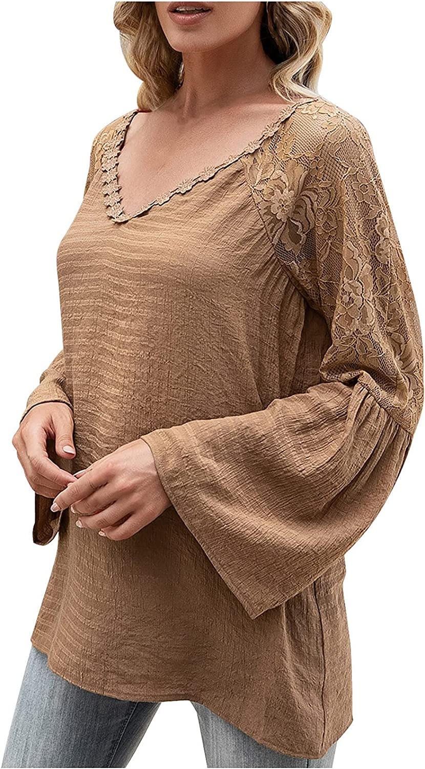 Summer Tops for Women Casual V Neck Solid Blouse Flared Long Sleeve T Shirt Lace Patchwork Hollow Out Pullover Tees