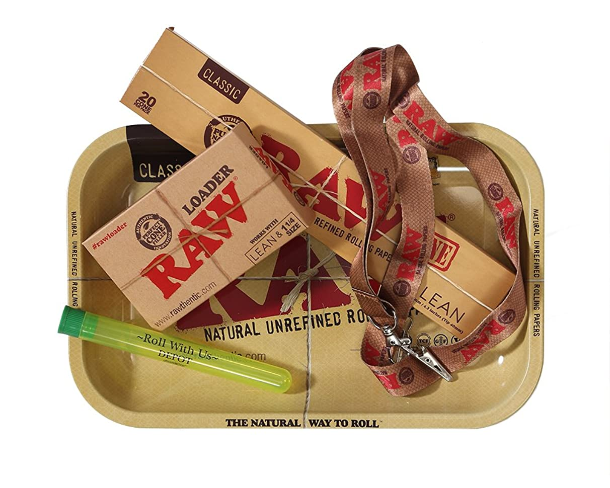 RAW Rolling Papers Supreme Lean Cone Combo - Includes RAW Rolling Tray, Raw Pre Rolled Lean Cones 20 Pack, RAW Loader, RAW Lanyard, and Roll with Us Doobtube