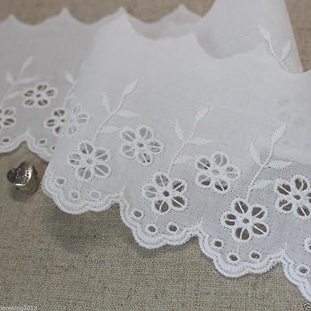 "14Yds Embroidery scalloped mesh net eyelet lace trim  0.8/"" YH1218 laceking2013"