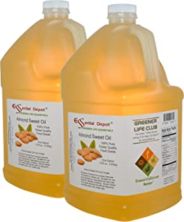 Almond Sweet Oil - 2 Gallons - 128 oz - Safety Sealed HDPE Container with resealable Cap - 100% Pure and Natural for Hair, Skin, Massage and Cooking