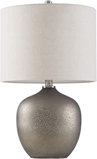 INK+IVY II153-0094 Jackson Desk Lamp, Bedside Nightstand Bedroom Light Modern Luxe Design, Glass Base, Metal Accent, Oatmeal Drum Fabric Shade, 22