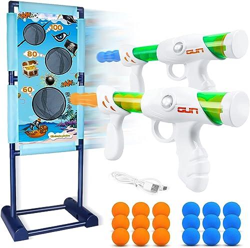 DX DA XIN Cibles de Tir Mobiles Jeu Cible Electrique, Jouet pour Enfants avec 2 Pistolets à Air Comprimé 18 Balles en...