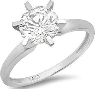 Clara Pucci 3.0 CT Brilliant Round Cut Simulated Diamond CZ Solitaire Engagement Wedding Ring Solid 14k White Gold