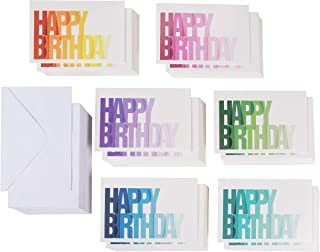 Birthday Cards Bulk – 144-Pack Birthday Cards Box Set, Happy Birthday Cards, 6 Colorful Ombre Designs with Blank on the Inside, Envelopes Included, 4 x 6 Inches