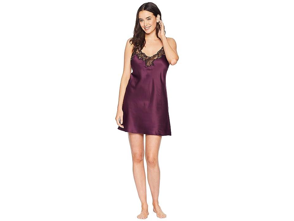 Natori Feathers Satin w/ Lace Chemise (Potent Purple) Women