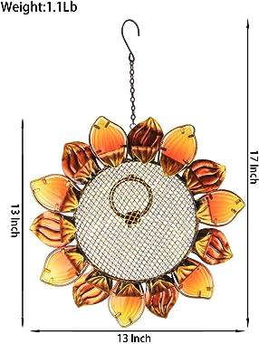 """MUMTOP Wild Bird Feeders 14"""" Metal Sunflower Outdoor Bird Breeders Can Hang in Patio Garden Trees with Hook"""