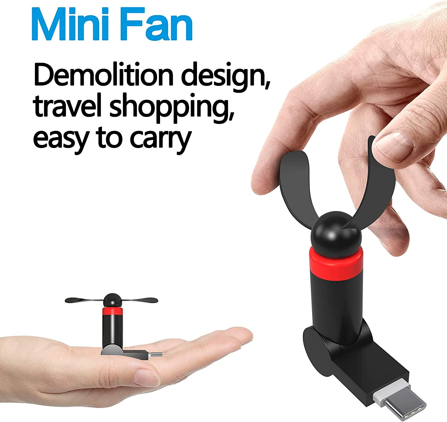 YMHML Mini Fan for Tpye C Device, Mini Cell Phone Fan with 180 Rotating, [Strong Wind] [Lightweight] Compatible for Samsung, Google, HTC, Type C Cell Phone Summer Accessories (Black)