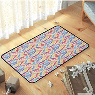 Bathroom Mats, Premium Versatility Rugs Indoor Area Rug Luxury Carpets for Home | Feather Colorful Plumage on Tartan Inspired Checkered Background Faded Contrast Artful Multicolor W15 x L23