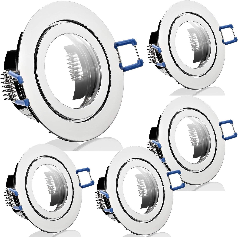 5 Stück IP44 Bad Einbaufassung Aqua 12 Volt Rund Ohne Leuchtmittel Farbe Chrom glnzend
