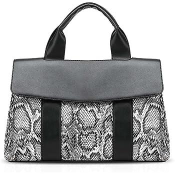 NICOLE&DORIS Modern Women's Snakeskin Print PU Leather Shoulder Bag Handbag Crossbody Bag Black