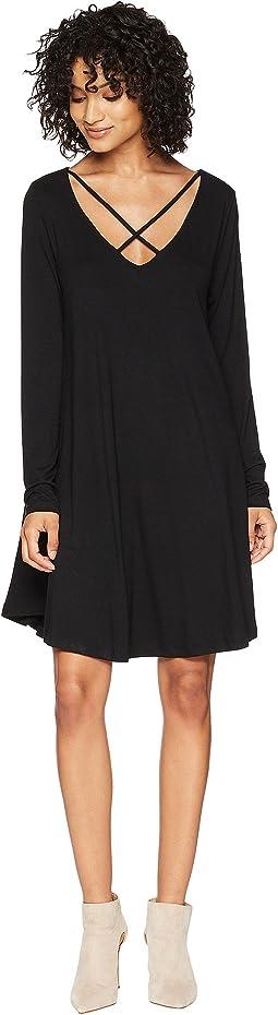 American Rose Elin Long Sleeve Crisscross Dress