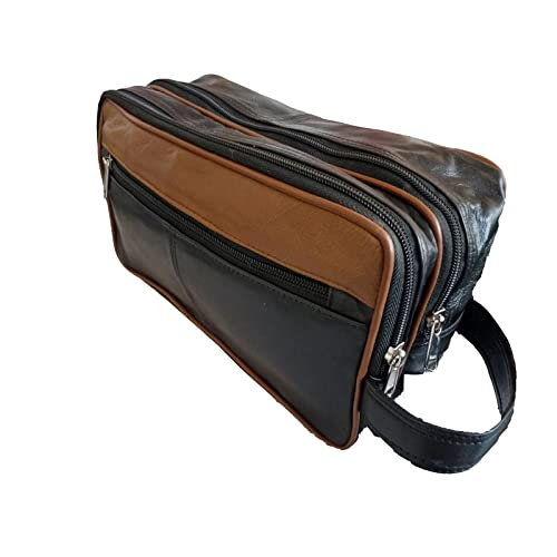 fbce19f81488 Leather 2 Tone Toiletry Wash Bag for Toiletries - Holiday Travel Washbag -  Suitable as Men s