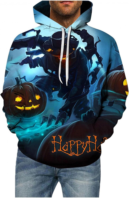 LEIYAN Halloween Mens Hoodie Pullover Graphic Pumpkin Skull Printed Hipster Long Sleeve Loose Oversized Sweatshirt