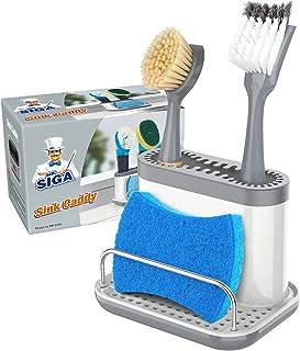 MR.SIGA Sink Caddy, Kitchen Sink Organizer Sponge Brush Holder with Drip Tray, White & Gray