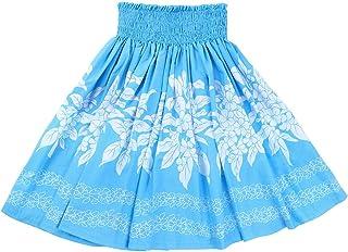 (ムームーママ)MuuMuuMama フラダンス レッスン シングル パウ スカート 4ヤード使用 丈72cm 4本ゴム プルメリア柄 水色地