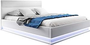 muebles bonitos Cama canapé abatible de Matrimonio Moderna Nitas con somier de láminas para colchón de 180x200cm Blanco diseño Italiano con LED Blanco Azulado