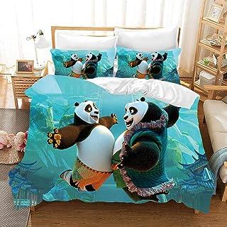 Juego de ropa de cama 3D Kung Fu Panda Printing Cartoon 917 con cremallera, funda nórdica de 3 piezas con 2 fundas de almohada F-US Queen90*90