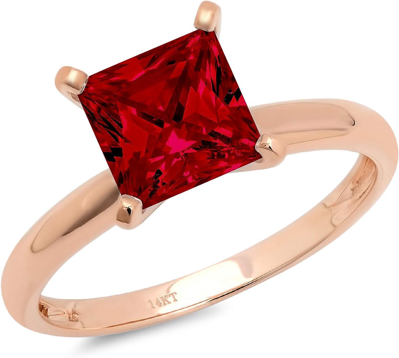 1.9ct Brilliant Princess Cut Solitaire Natural Crimson Deep Red Garnet Ideal VVS1 4-Prong Engagement Wedding Bridal Promise Anniversary Ring Solid 14k Rose Gold for Women