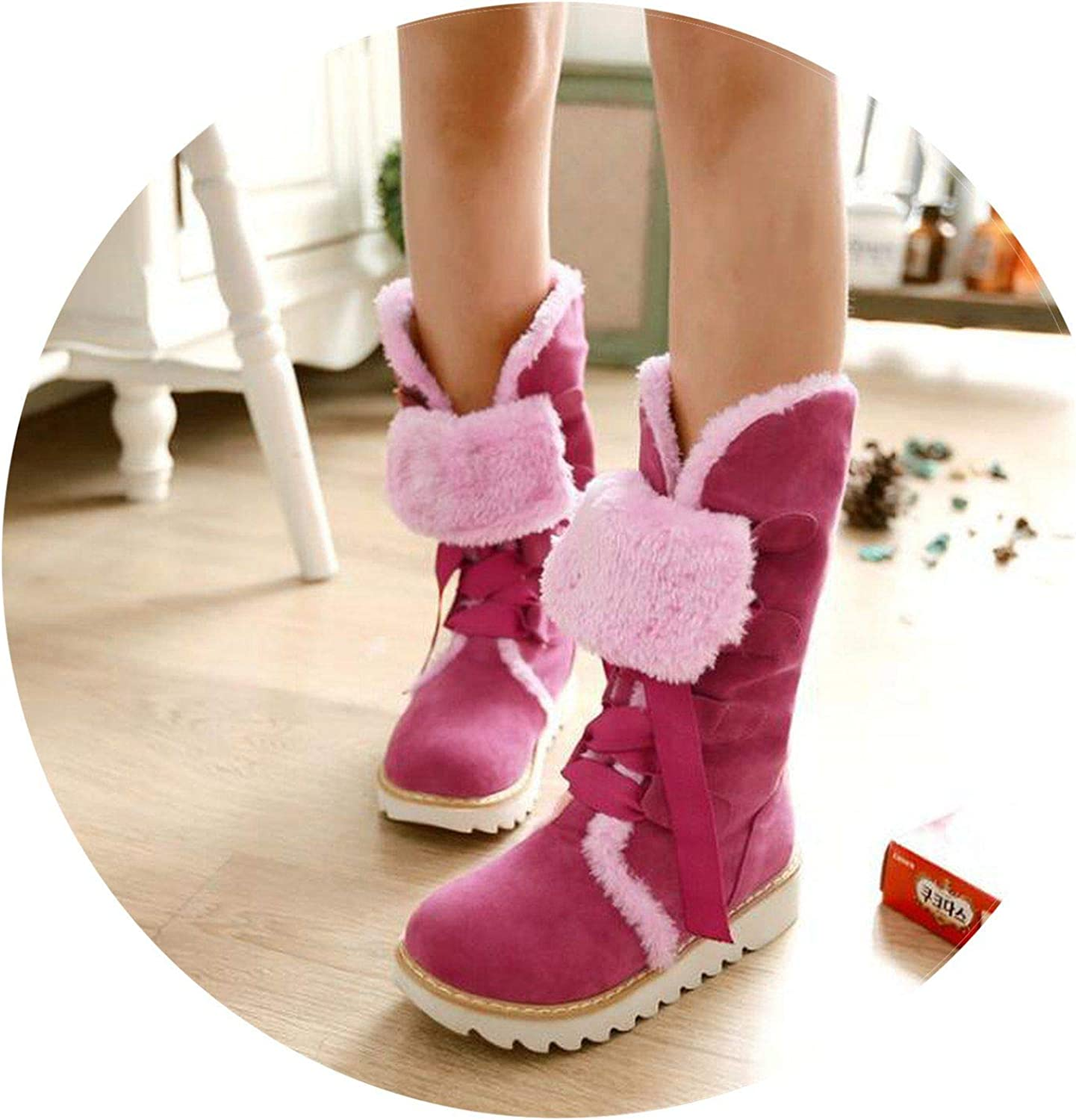 Summer-lavender Autumn Winter Warm Flat Casual Boots Scrub Women Boots Faux Suede Classic Lace-Up Snow Boots